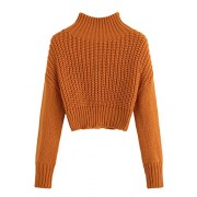 SweatyRocks Women's Drop Shoulder Mock Neck Pullover Sweater Long Sleeve Basic Crop Sweaters - 半袖シャツ・ブラウス - $14.99  ~ ¥1,687
