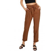 SweatyRocks Women's Elastic Belted High Waist Casual Loose Long Pants with Pocket - パンツ - $8.89  ~ ¥1,001