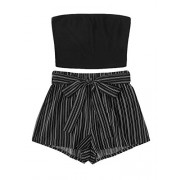 SweatyRocks Women's Sexy 2 Piece Outfits Striped Bandeau Tube Crop Top with Shorts Set - Suits - $12.99