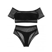 SweatyRocks Women's Sexy Bathing Suit Fishnet Off Shoulder Mesh Bandeau Bikini Set - 水着 - $14.99  ~ ¥1,687