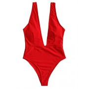SweatyRocks Women's Sexy Bathing Suits Basic Deep V High Waist Swimwear Open Back One Piece Swimwear - 水着 - $18.99  ~ ¥2,137