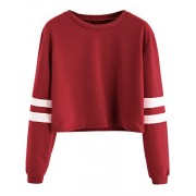 SweatyRocks Women's Striped Long Sleeve Crewneck Crop Top Sweatshirt - 半袖シャツ・ブラウス - $13.99  ~ ¥1,575