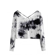 SweatyRocks Women's Tie Dye Print Crop Top T Shirt Long Sleeve - Shirts - $9.99