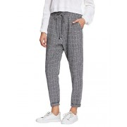 SweatyRocks Women's Tie High Waist Striped Plaid Casual Long Pants Pockets - Pants - $12.89