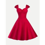 Sweetheart Neck Pleated Dress - sukienki - $27.00  ~ 23.19€