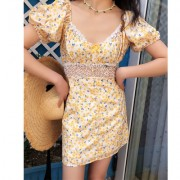 Sweet hollow lace fairy yellow floral short skirts - Dresses - $28.99
