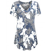 Sweetnight Women Floral Print V Neck Button Decor Peasant Summer Swing Tunic Tops Shirts - Shirts - $8.99