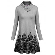 Sweetnight Women's Long Sleeve Swing Cowl Neck Floral Printed Casual Tunic Tops - Dresses - $9.99