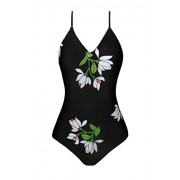 Swiland Floral Printed Deep V Neck Vintage One-Piece Swimsuit Beach Swimwear Bathing Suit - Swimsuit - $39.99