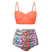 Swiland Women Vintage Swimsuits High Waisted Bikinis Bathing Suits Retro Halter Underwired Top - Swimsuit - $59.99