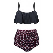 Swiland Womens High Waisted Swimsuits Flounce Top Bathing Suits Swimwear - Swimsuit - $39.99