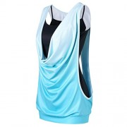 TOPUNDER Fashion Sleeveless Tank Tops Gradient Color Blouse Two Piece Camis and Vest for Women - Shirts - $6.79