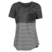TOPUNDER Women Pregnant Tops Maternity Nursing T-Shirt Stripe Breastfeeding Blouse - Shirts - $4.39