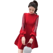 TREND 2019 RED DRESS SLEEVES LANTERN GRI - Uncategorized -
