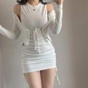 Temperament lotus leaf lace short lace-up tassels and thin solid color long-slee - Swetry na guziki - $28.99  ~ 24.90€