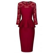 Tempt Me Women Vintage Lace Half Sleeve Peplum Waist Knee Length Work Pencil Dress - Dresses - $26.99