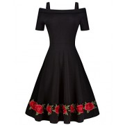 Tempt Me Womens Black Vintage Off Shoulder Straps Short Sleeve Applique Cocktail Swing Dress - Dresses - $27.99