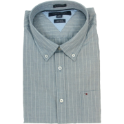 Tommy Hilfiger Mens Long Sleeve Custom Fit Button Front Shirt Blue-Gray - Camisas manga larga - $39.99  ~ 34.35€