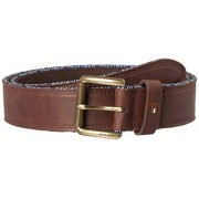 Tommy Hilfiger Men's Leather Belt - Casual or Dress for Men with Stripe Stitching on Strap Classic Single Prongle Buckle - Accesorios - $19.65  ~ 16.88€