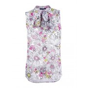 Tommy Hilfiger Womens Sleeveless Woven Botanical Floral Etching Tie Neck - Shirts - $23.99