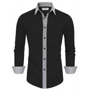 Tom's Ware Mens Casual Slim Fit Contast Lining Button Down Dress Shirts - Shirts - $37.99
