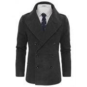 Tom's Ware Men's Stylish Large Lapel Double Breasted Pea Coat - Outerwear - $39.99