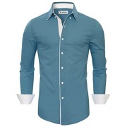 Tom's Ware Mens Stylish Slim Fit Contrast Inner Long Sleeve Button Down Shirt - Shirts - $31.99