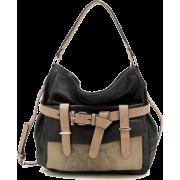 Tosca Belted Snake-skin Handbag Black - Hand bag - $34.95