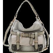 Tosca Belted Snake-skin Handbag Gray - Hand bag - $34.95