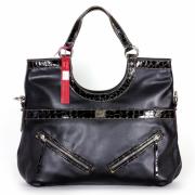 Tosca Croco Trim Satchel Handbag Black - Hand bag - $39.95
