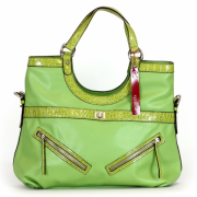 Tosca Croco Trim Satchel Handbag Olive - Hand bag - $39.95