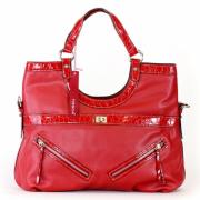 Tosca Croco Trim Satchel Handbag Red - Hand bag - $39.95
