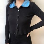 Trendy Vintage Plush Lapel Button Long S - T-shirts - $29.99