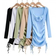 Trendy square neck double drawstring sexy short long sleeve hip dress - Haljine - $26.99  ~ 171,46kn