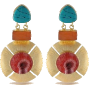 Turquoise Orange Beaded Earrings - Earrings -