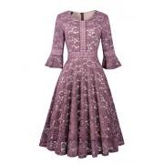 Twinklady Women's Vintage Full Lace Bell Sleeve Big Swing A-Line Dress - Vestidos - $24.99  ~ 21.46€