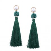 Twinsmall Vintage Jewelry Women Bohemian Fashion Weave Tassel Earrings Long Drop Earrings - Earrings - $1.68