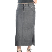 Two Pocket Low Rise Stretch Denim Ankle Length Skirt with Side Slits - Clearance Sale ! Black - Skirts - $20.00