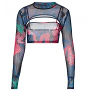 Two-piece halter long sleeve printed mesh top with suspenders - Shirts - $19.99
