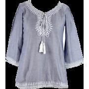 Una Gupta Blue Cotton top - Рубашки - длинные -