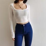 U-neck Wrapped Bottoming Shirt Women's Slim Short High Waist Open-neck Long Slee - Pullovers - $25.99