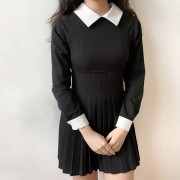 Uniform Slim Lapel Retro Long Sleeve Ple - Dresses - $59.99