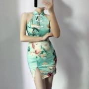 Upskirt Girl Floral Halter Improved Cheongsam Dress - 连衣裙 - $25.99  ~ ¥174.14