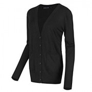 Urban CoCo Women's Long Sleeve Button Down Basic Cardigan Sweater - Long sleeves shirts - $17.98