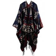 Urban CoCo Women's Printed Tassel Open front Poncho Cape Cardigan Wrap Shawl - Accessories - $23.80