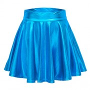 Urban CoCo Women's Shiny Flared Pleated Mini Skater Skirt - Skirts - $14.85