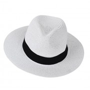 Urban CoCo Women's Wide Brim Straw Panama Floppy Beach Sun Hat with Strap - Hat - $11.68