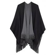 Urban CoCo Women's Winter Vintage Poncho Capes Tassel Blanket Shawl Wrap Cardigan Coat - Accessories - $25.80