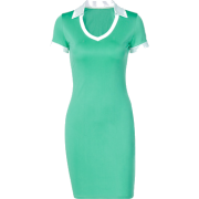U-shaped polo collar short sleeve dress - Dresses - $19.99