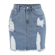 Verdusa Women's Casual Distressed Frayed Pencil Short Denim Skirt - Skirts - $15.99